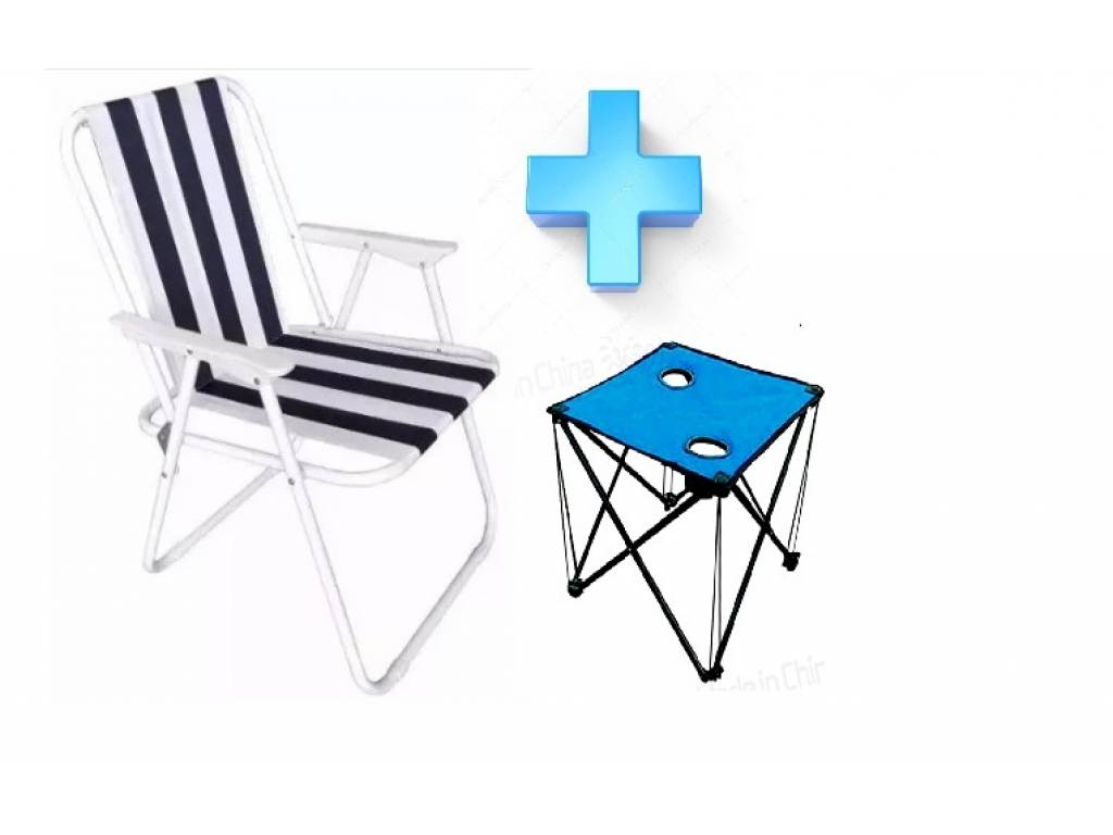 SILLA DE PLAYA PLEGABLE + MESA DE REGALO