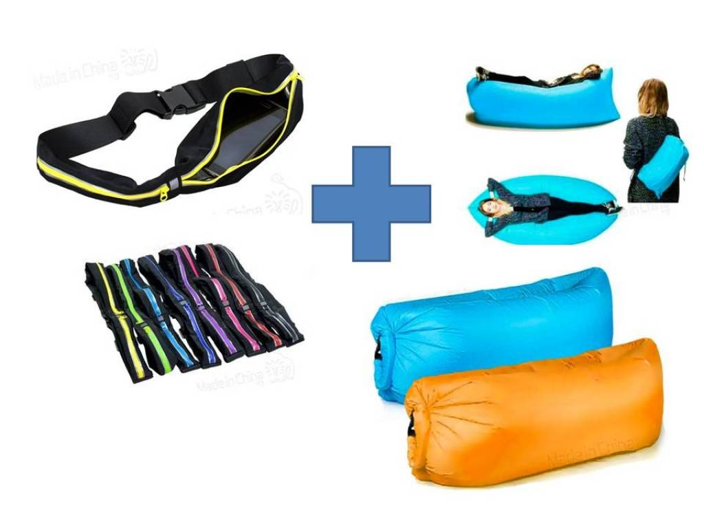 SOFA AIRE SILLON LAY BAG SLEEP + RIÑONERA DEPORTIVA